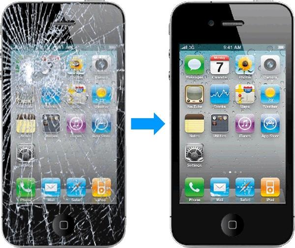 Điện thoại iPhone 4s bị vỡ mặt kính