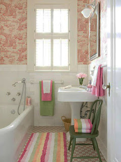 feminine small bathroom design plus colours pop rug and green armless chair with corner free standing sink