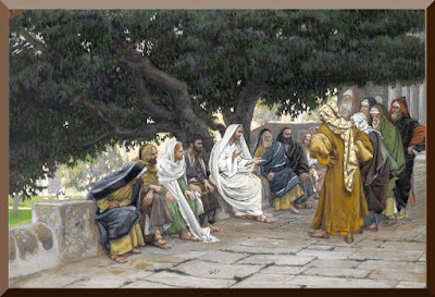 """""""The Pharisees and the Saduccees Come to Tempt Jesus"""" -- by James Tissot - PD-1923"""