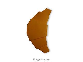 Cách gấp, xếp bánh sừng bò bằng giấy origami - Video hướng dẫn xếp hình đồ ăn - How to fold a Croissant