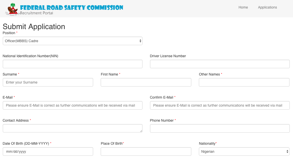 How to Apply for Federal Road Safety Recruitment 2021