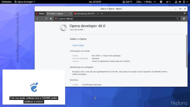 Opera Developer executando no Fedora 25 Workstation com ambiente de área de trabalho GNOME
