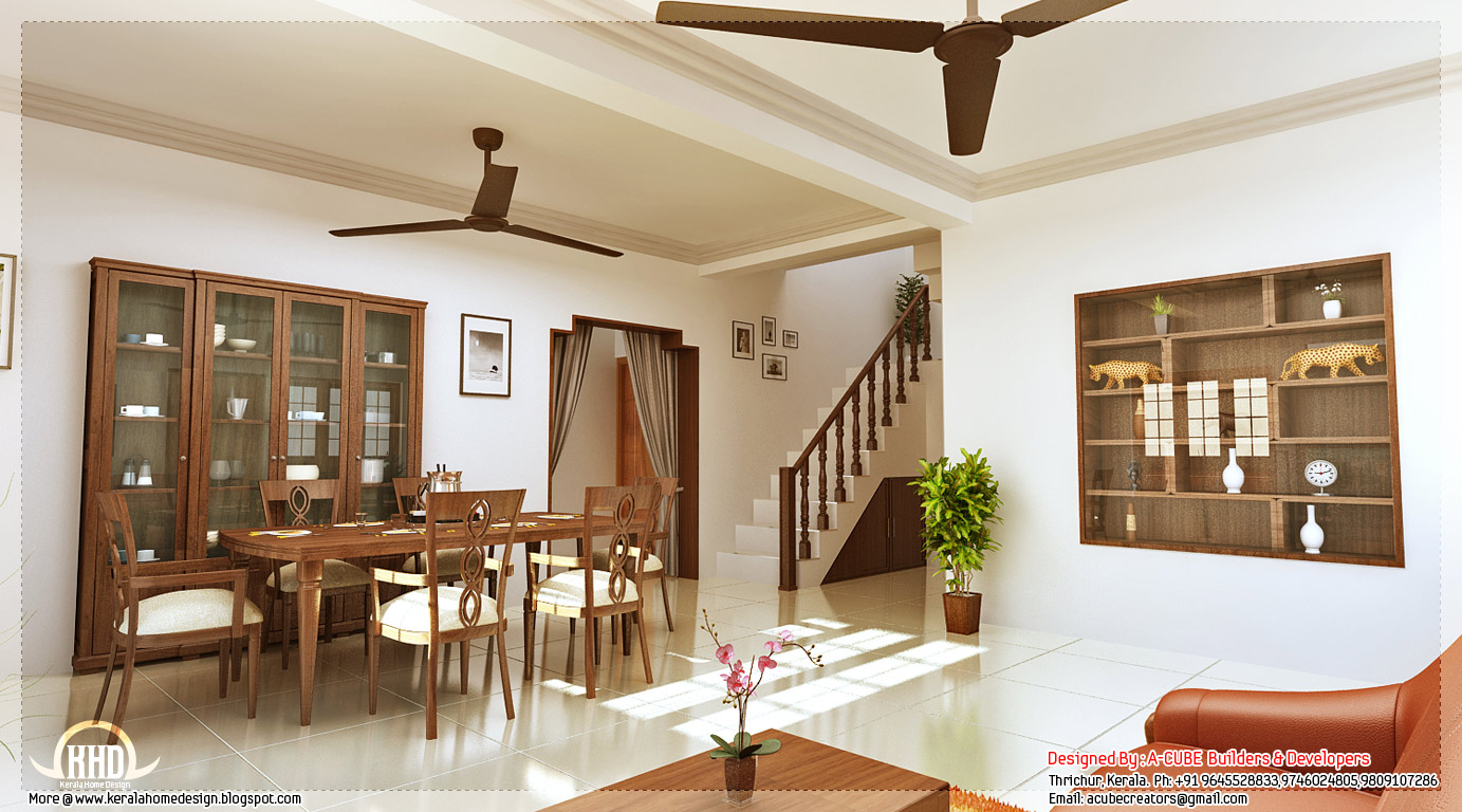 Kerala style home interior designs kerala home design for House plans with interior pictures
