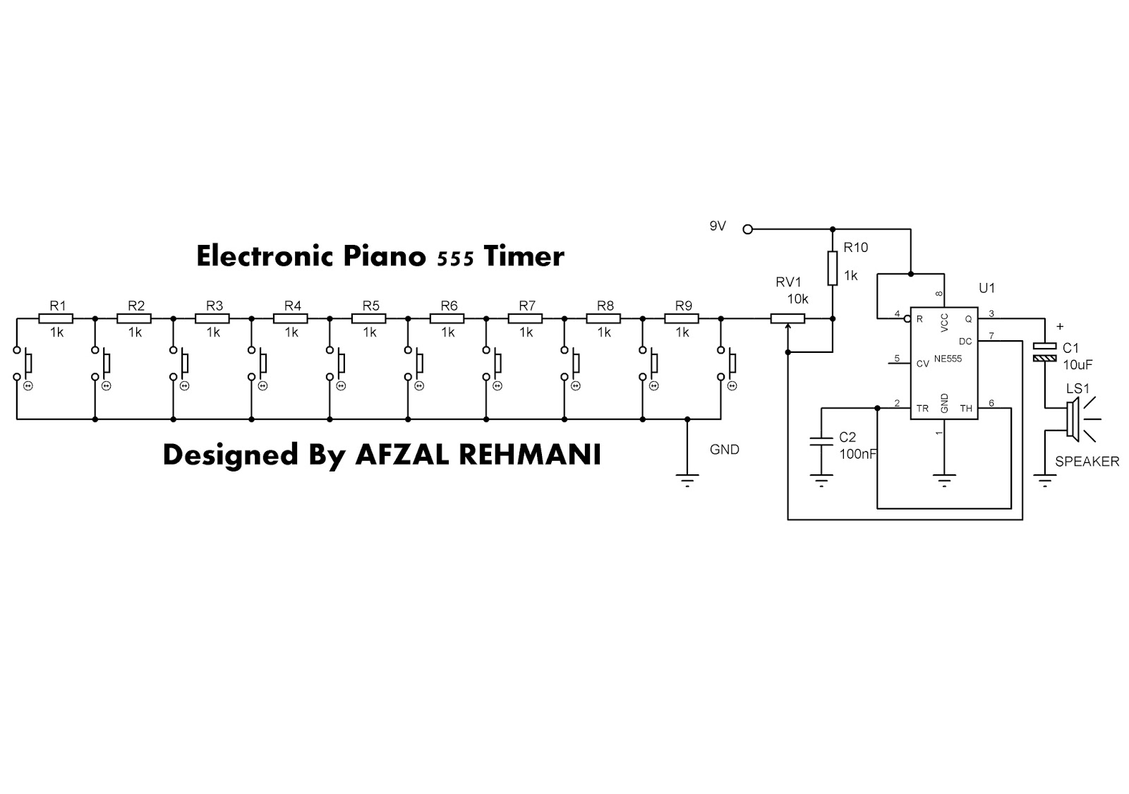 Wellcome To 360 Circuits: How to make electronic piano 555 timer