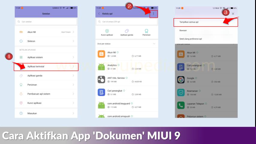 Cara aktifkan aplikasi dokumen pada MIUI 9