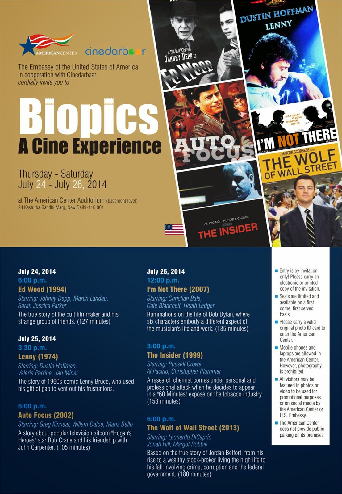 Biopics - A Cine experience, Poster, The Embassy of United States of America, American Center, Cinedarbaar, 24th – 26th July 2014