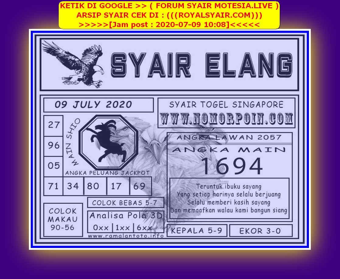 Kode syair Singapore Kamis 9 Juli 2020 126