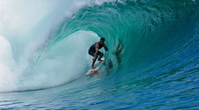 Surfing at Plengkung G-Land Beach Banyuwangi East Java