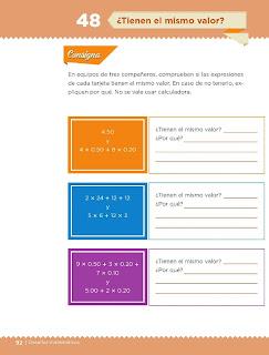 Apoyo Primaria Desafíos Matemáticos 4to. Grado Bloque III Lección 48 ¿Tienen el mismo valor?