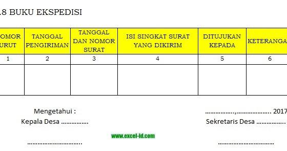 Contoh Format Buku Ekspedisi Dengan Ms Excel