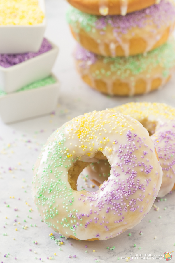 Baked King Cake Donuts | Cooking on the Front Burner