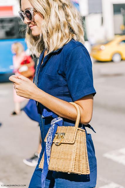 Ferragamo wicker bag street style fashion