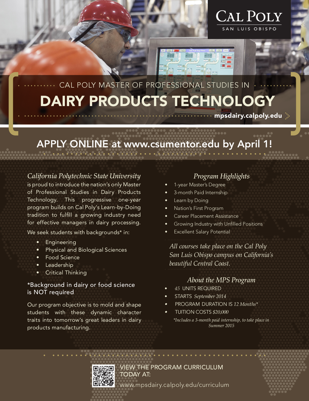 Cal Poly San Luis Obispo MPS in Dairy Products Technology  22e43fe9dd7f