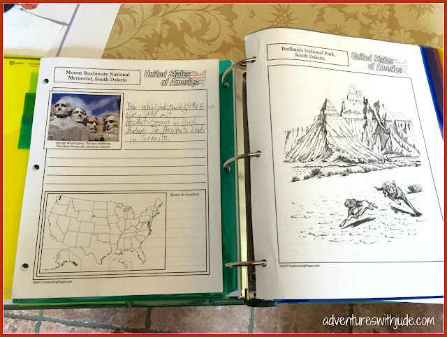 notebooking pages for Mount Rushmore NM and Badlands NP