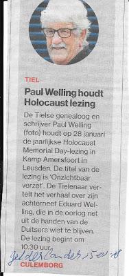 Aankondiging van mijn lezing in De Gelderlander, d.d. 15-01-2018