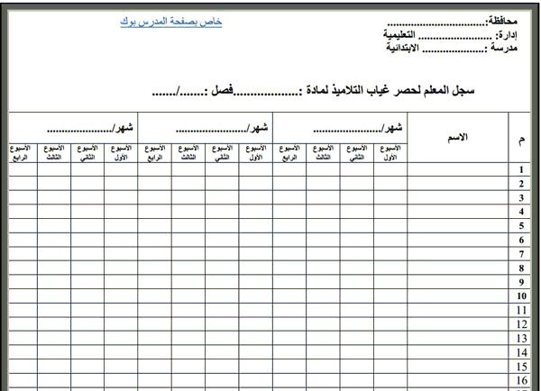 سجل غياب الطلاب اليومي 2018-2019
