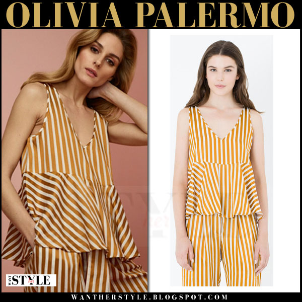 Olivia Palermo in yellow striped top and matching trousers max and co spring 2016 what she wore