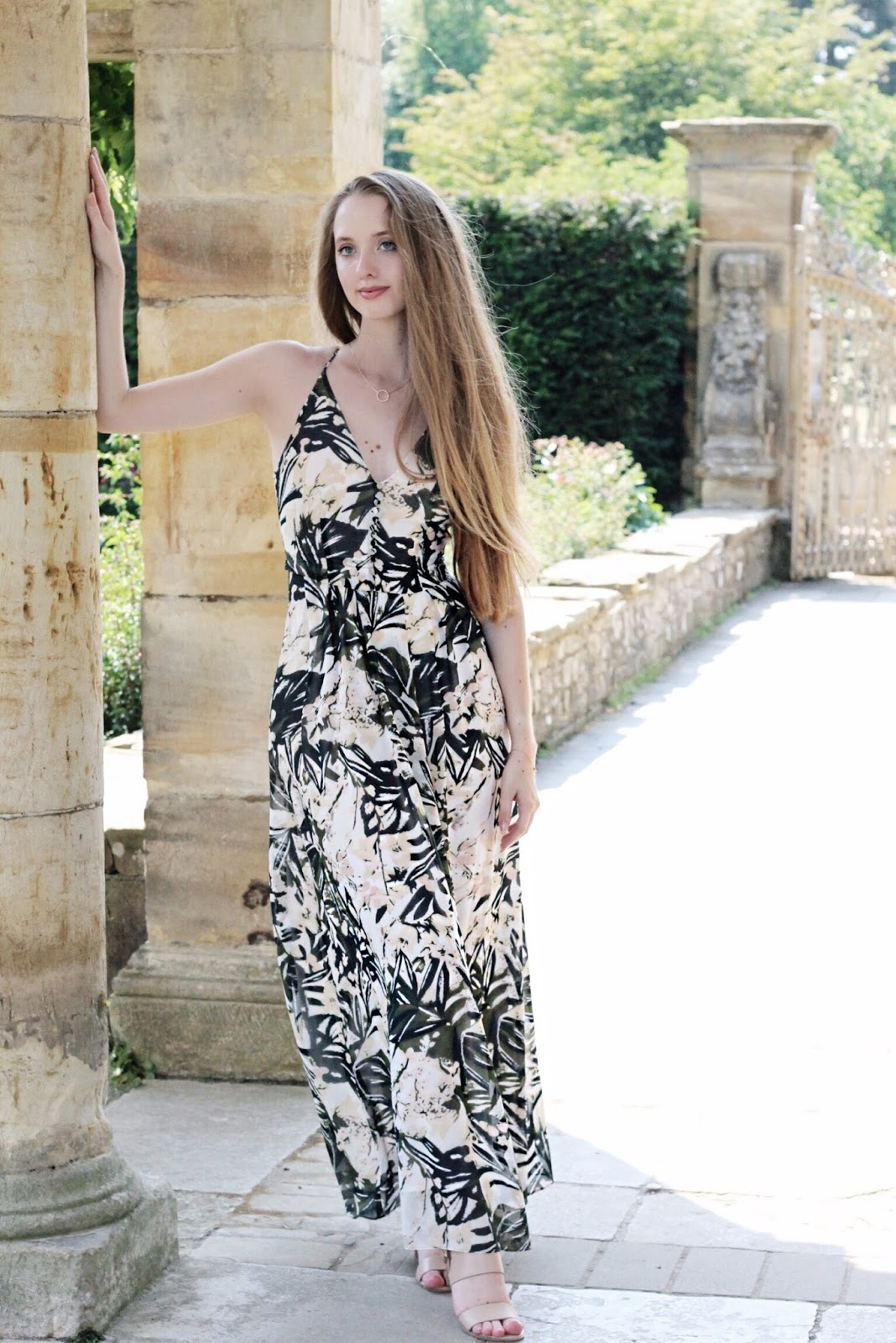 Strappy green floral maxi dress