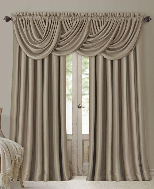 monochrome luxury bedroom curtain designs in beige