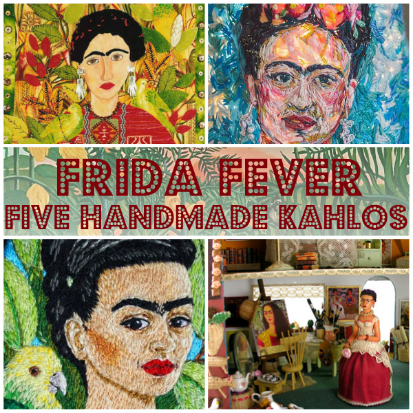 Collage of handmade portraits of Frida Kahlo including thread paintings and miniatures
