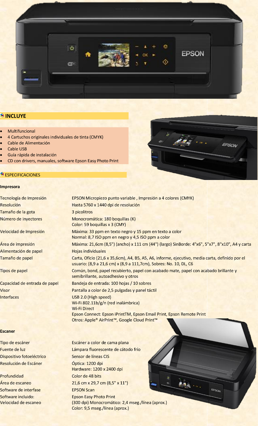 Multifuncional Epson Xp 411 Wifi Nuevo Similar Xp 211