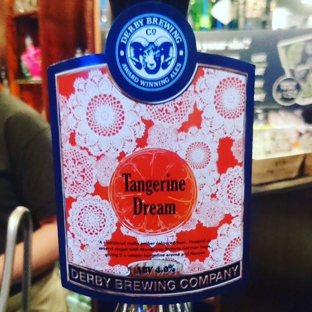 Derbyshire Craft Beer Review: Tangerine Dream from Derby Brewing Co. real ale pump clip