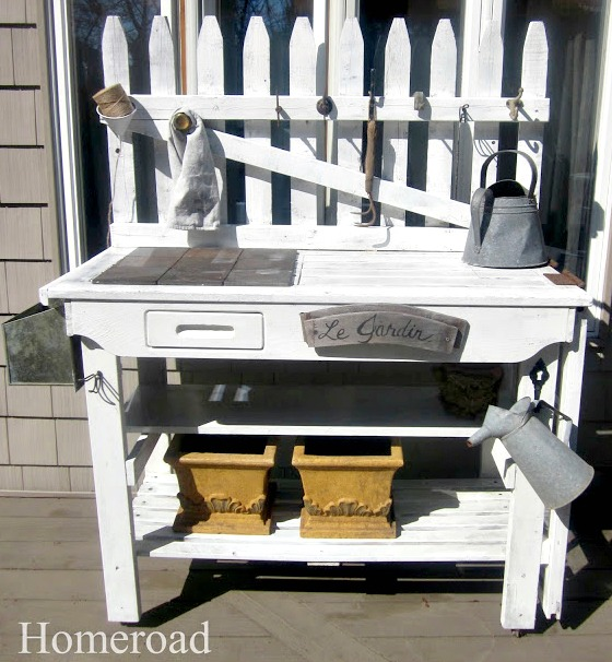 white potting table with accessories