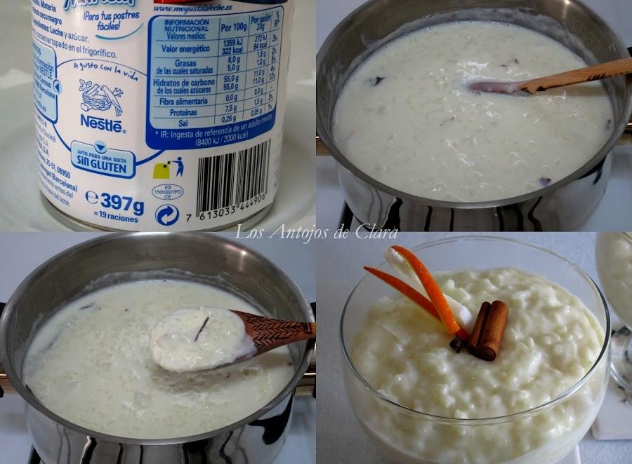 Preparación arroz con leche