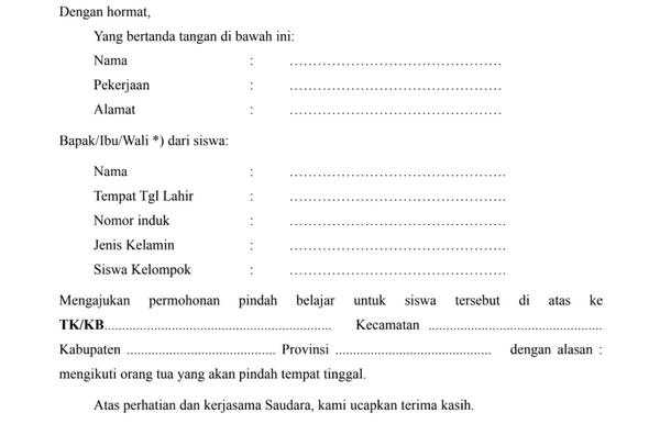 Surat Permohonan Pindah Sekolah PAUD, TK, RA, KOBER