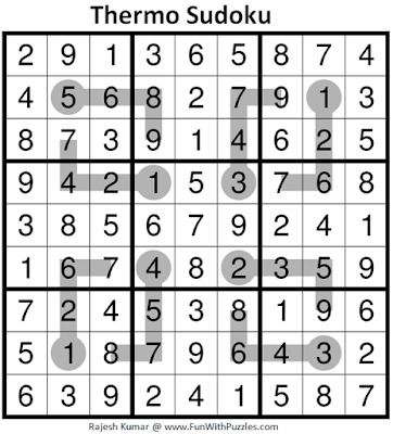 Answer of Thermometer Sudoku Puzzle (Fun With Sudoku #331)