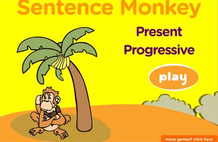 El mono de las frases: juego para practicar el present progressive