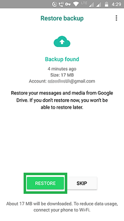 Restore WhatsApp from Google drive
