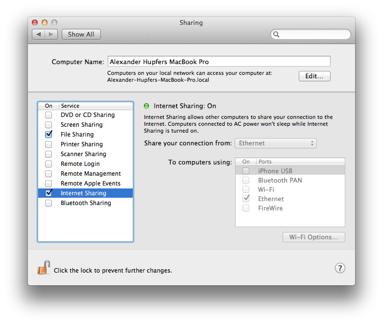 Setting up a Raspberry Pi for OSX using a direct ethernet