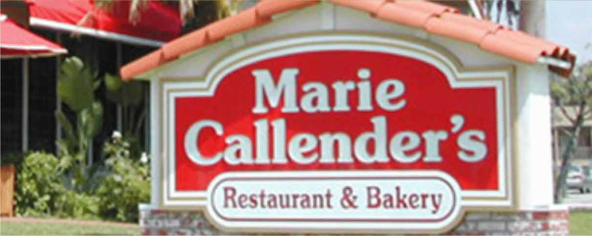 Marie Callender's Breakfast Menu Items. Breakfast menus at Marie Callender's vary by location, so be sure to check the location nearest you for specific hours and menus. Marie Callender's is famous for their pies, and even though that is not a breakfast food, they slyly slipped in some pie flavor.