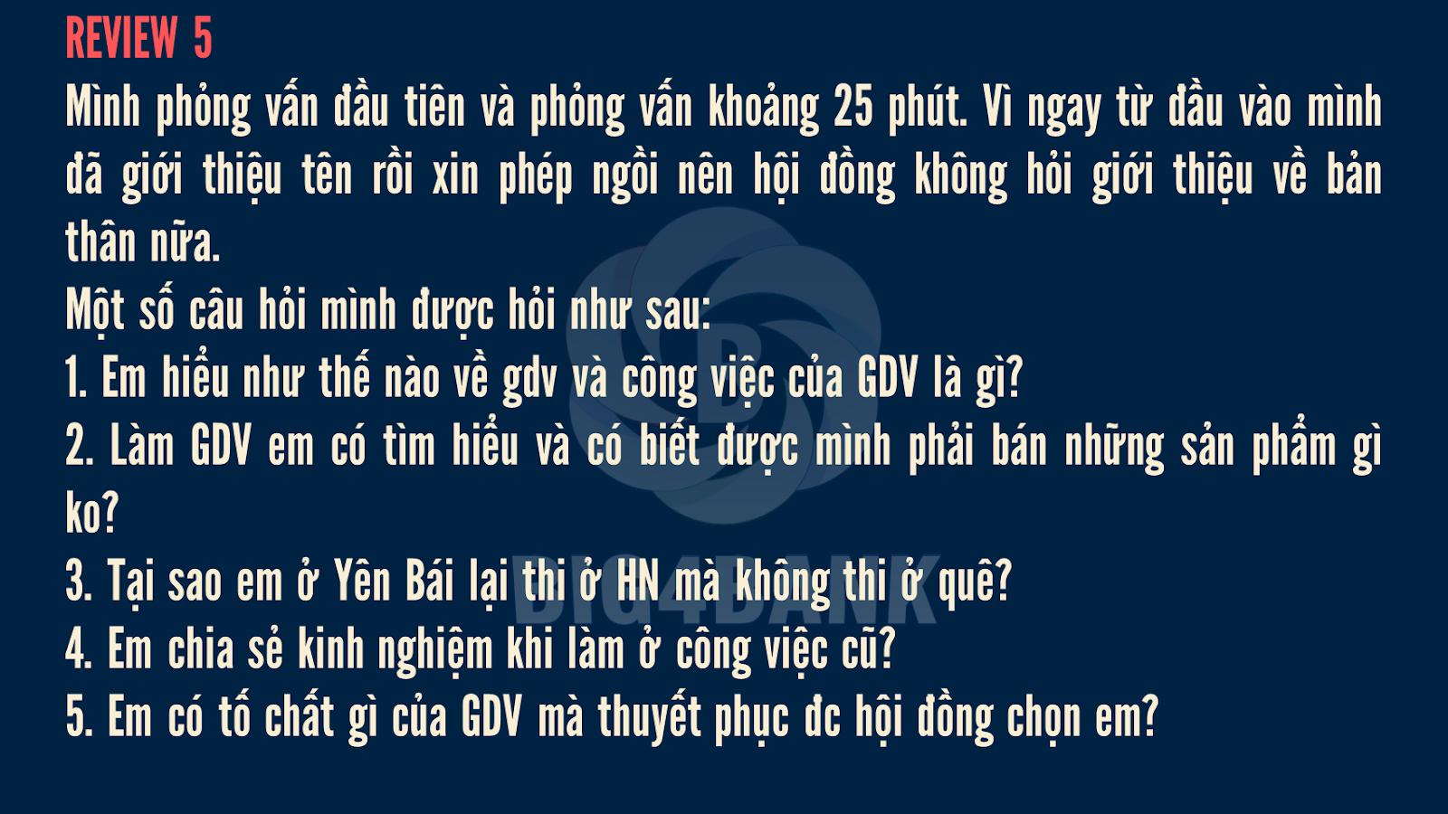 Review Phỏng Vấn Vietinbank Vòng 2- 2018 Vị Trí GDV