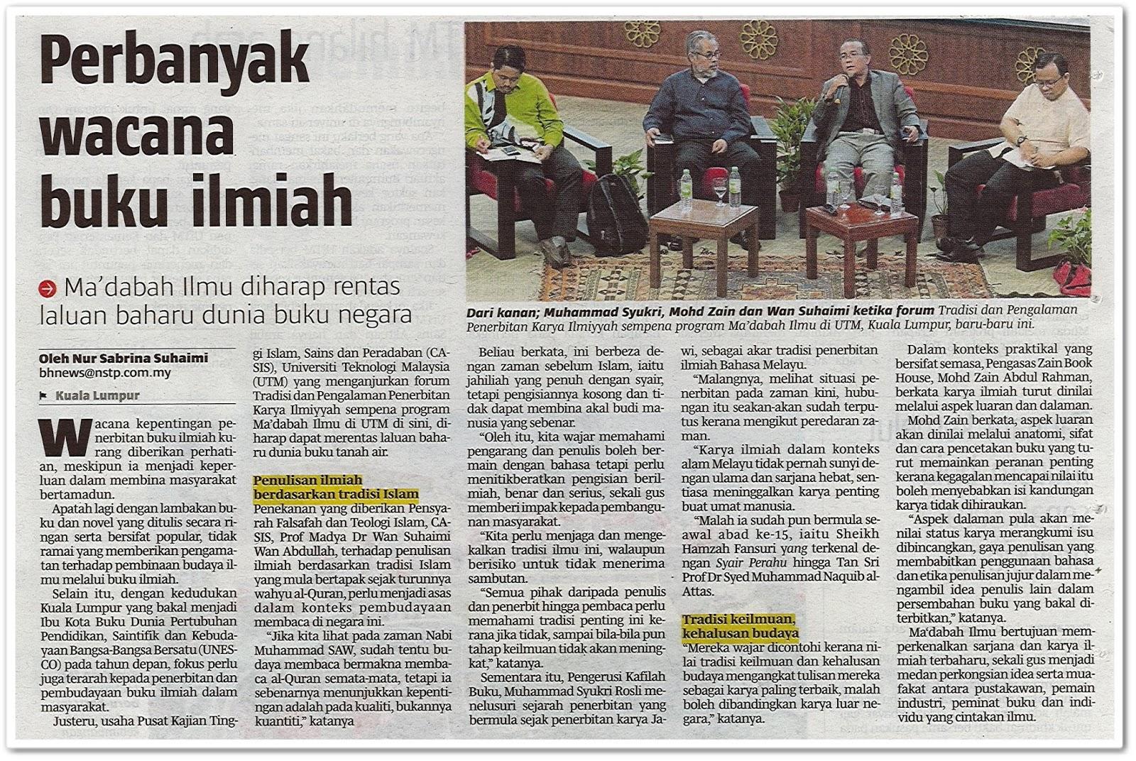 Perbanyak wacana buku ilmiah - Keratan akhbar Berita Harian 4 Mac 2019