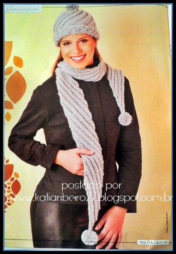 Cachecol e gorro em tricô com receita e gráficos - Katia Ribeiro ... 2f46db01891
