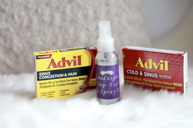 DIY lavender mint pillow spray, advil sinus congestion & pain, Advil Cold & Sinus, pillow mist spray, relaxing linen spray