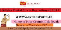 Odisha Postal Circle Recruitment 2017– 93 Gramin Dak Sevak