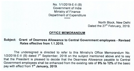 dearness-allowance-from-jan-2019-deptt-of-expenditure-order