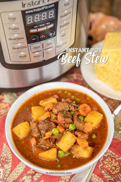 Instant Pot Beef Stew - comfort food at its best! Seriously THE BEST beef stew recipe we've ever eaten! SO simple. Just sauté the stew meat, dump the rest of the ingredients in the pot and cook. Only about 5 minutes of hands on time! Stew meat, flour, sugar, beef broth, diced tomatoes, chili powder, thyme, Worcestershire sauce, tomato paste, onion, garlic, potatoes, carrots, and peas. Leftovers also taste great reheated! #instantpot #beef #stew