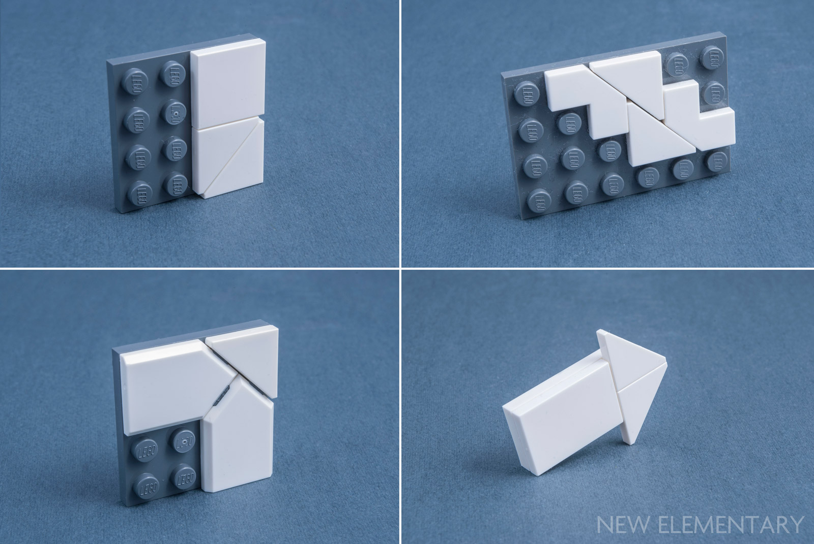 Lego Lot of 50 New Light Bluish Gray Tiles 2 x 2 Corner Flat Smooth Pieces
