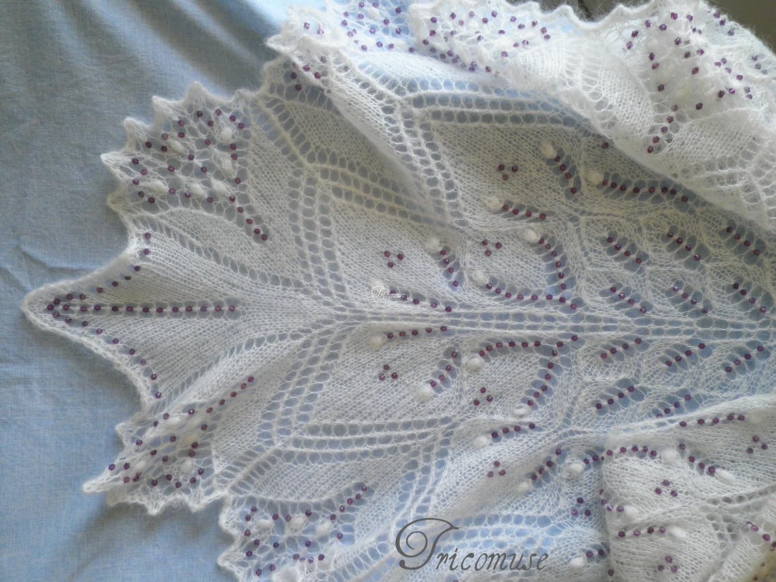 Beautiful Tricot et compagnie: Châle Aeolian, mettre des perles avec un crochet PO01