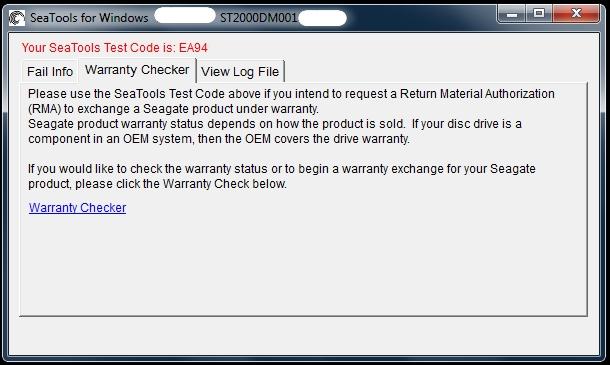 seagate rma seatools test code
