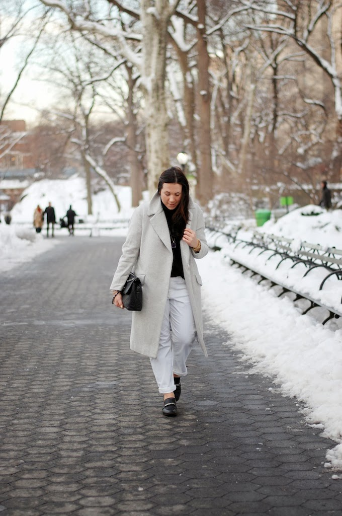 H&M wool coat and Celine loafers