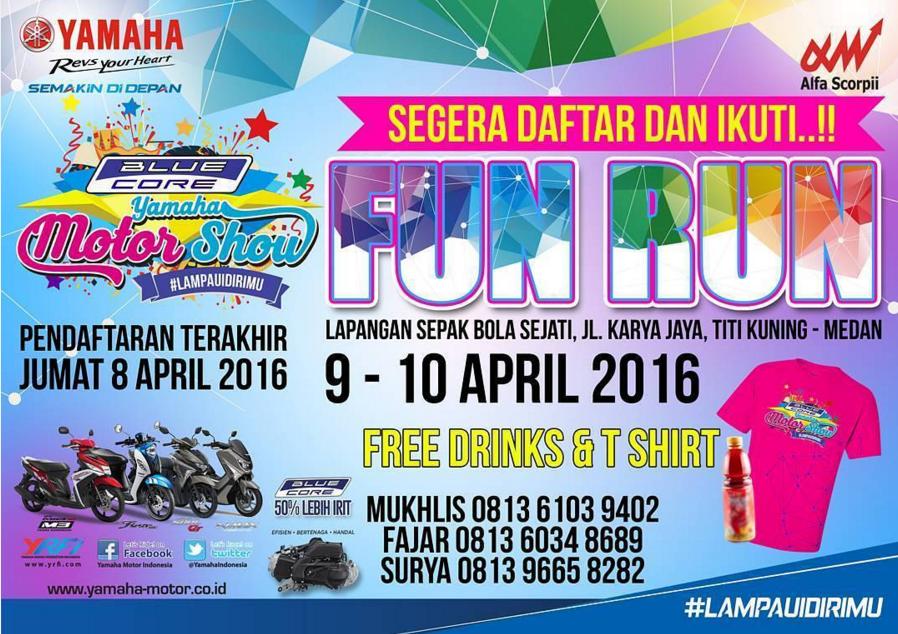 Yuk!! datang ke acara Bule Core Yamaha Motor Show 2016 dikota Medan  . . ada Fun Run dan diskon spareparts juga