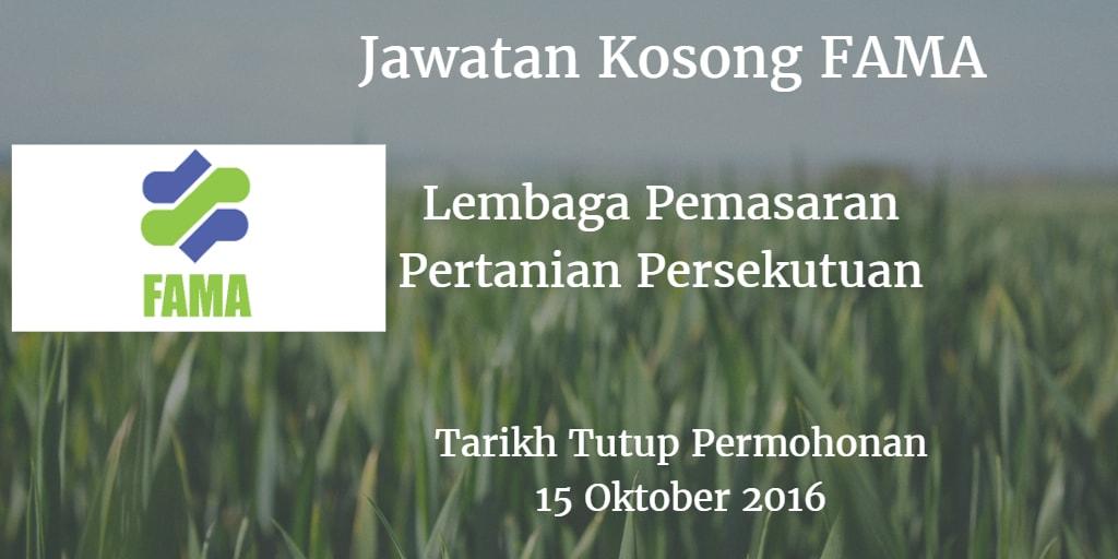 Jawatan Kosong FAMA 15 Oktober 2016