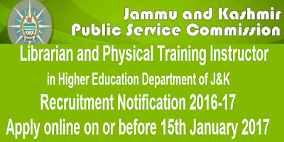 J&K PSC Recruitment Notification 2016-17