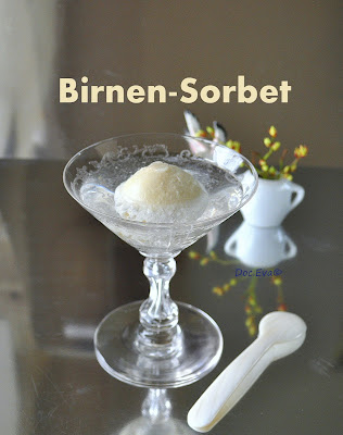 Birnen Sorbet auf Gin and Tonic