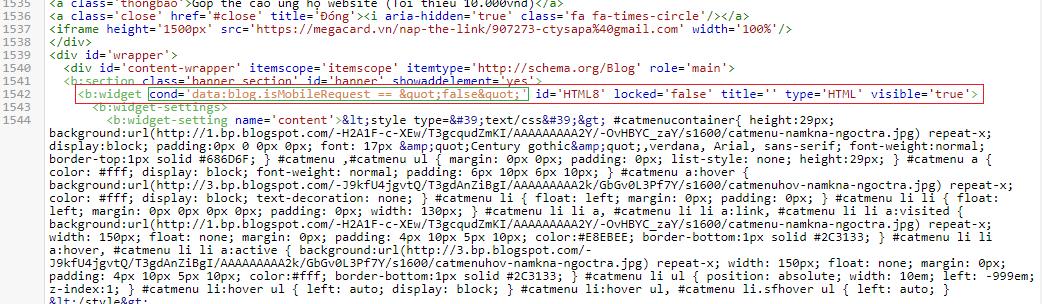 Ẩn một Widget hay phần tử bất kỳ khi xem Blog ở chế độ Mobile